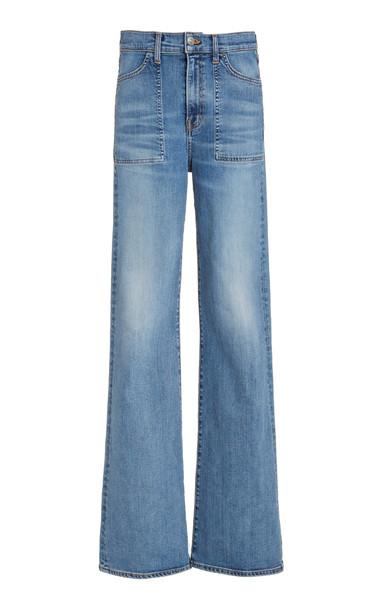 Veronica Beard Crosbie High-Rise Flared-Leg Jeans in blue