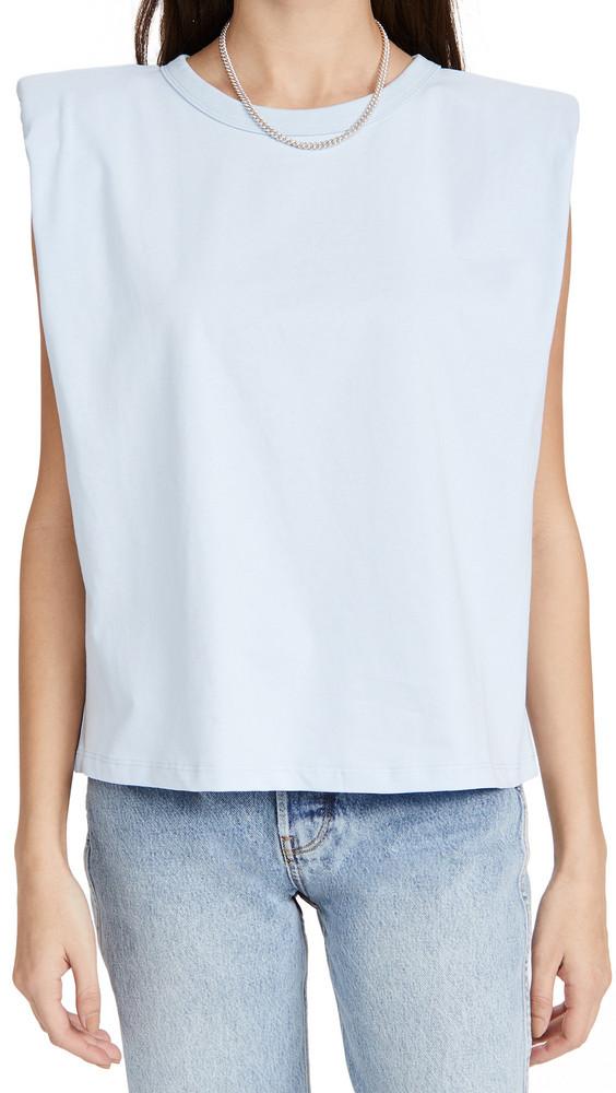 endless rose Padded Shoulder T-Shirt in blue