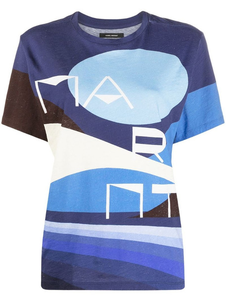 Isabel Marant graphic-print cotton T-shirt in blue