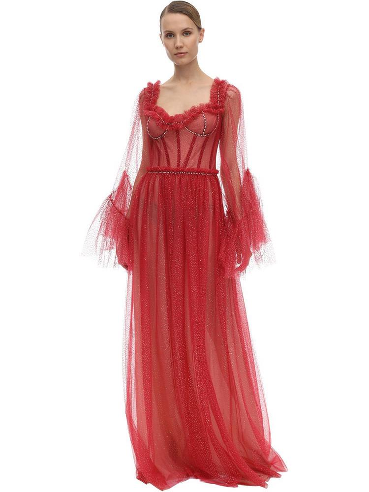 SANDRA MANSOUR Glittered Tulle Midi Dress in red