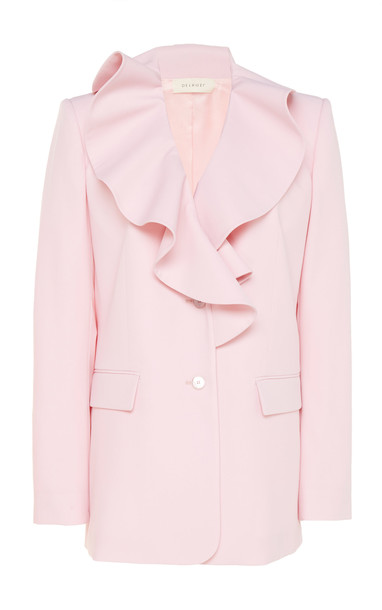 DELPOZO Ruffled Wool Blazer Size: 36 in pink