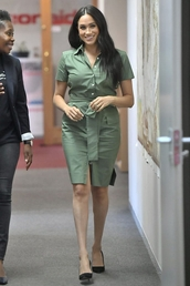 dress,shirt,shirt dress,military style,meghan markle,celebrity,midi dress