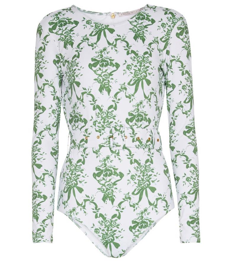 Emilia Wickstead Noor printed swimsuit in green
