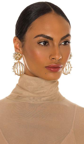 Lele Sadoughi Swarovski Birdcage Earrings in Metallic Gold