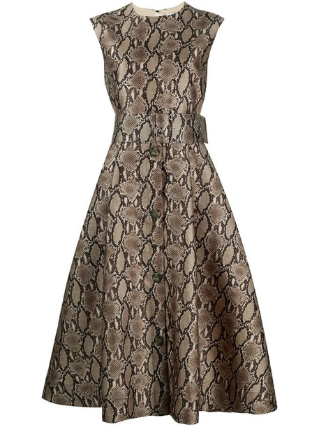 MSGM belted snake-print dress in brown