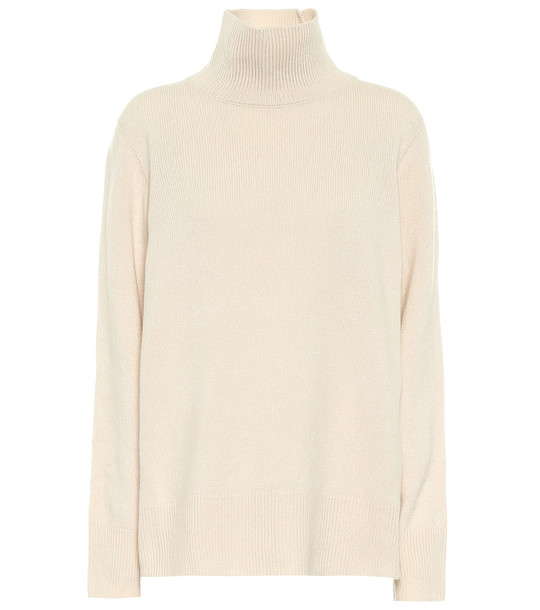 The Row Milina wool and cashmere turtleneck sweater in beige