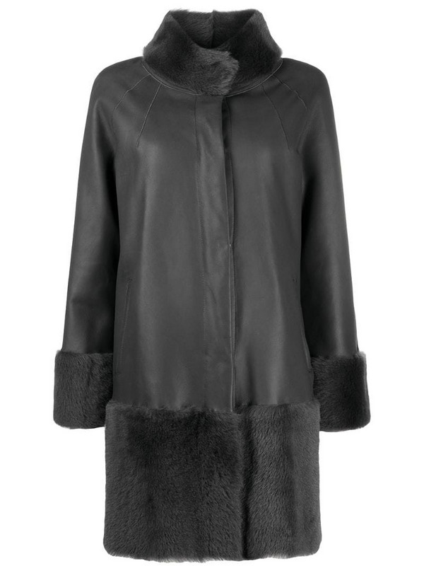 Suprema shearling-trimmed leather jacket in grey