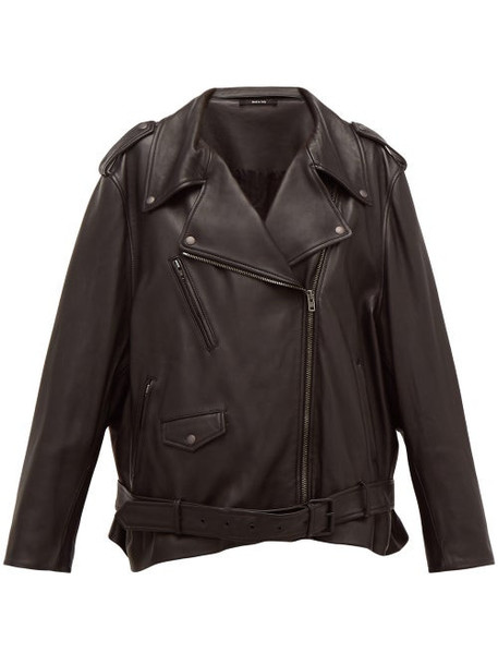 Maison Margiela - Oversized Belted Leather Biker Jacket - Womens - Black