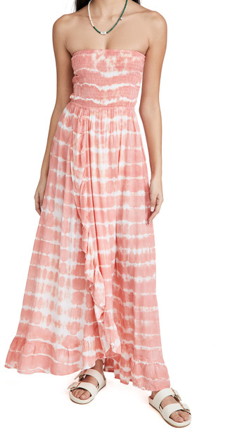 TIARE HAWAII Eri Long Maxi Dress in coral / white
