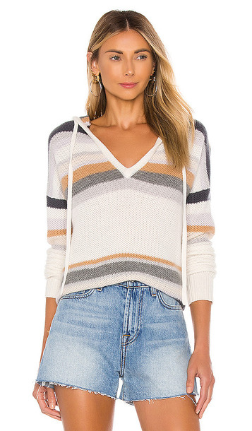 Autumn Cashmere Striped Honeycomb Stitch Hoodie in White