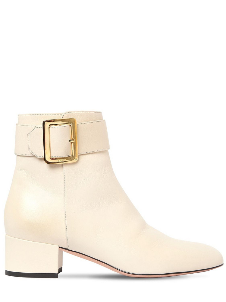 BALLY 40mm Jay Leather Ankle Boots in white