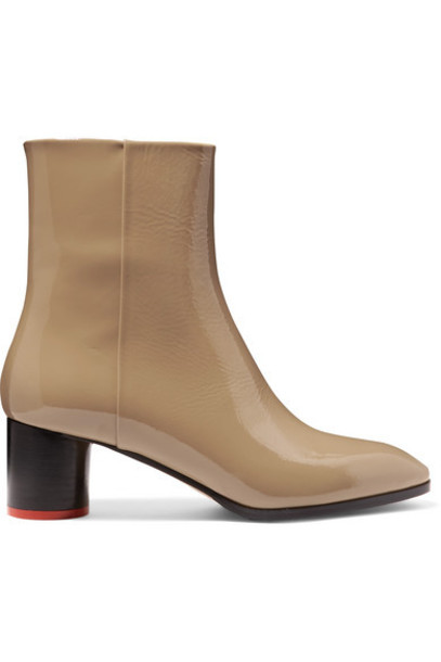 aeyde - Emily Patent-leather Ankle Boots - Beige