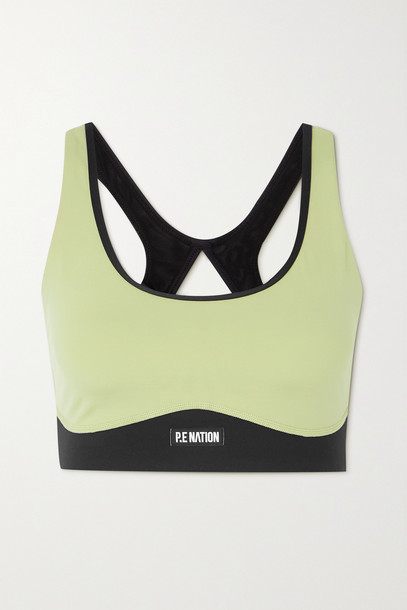 P.E NATION - Double Team Recycled Stretch And Mesh Sports Bra - Green