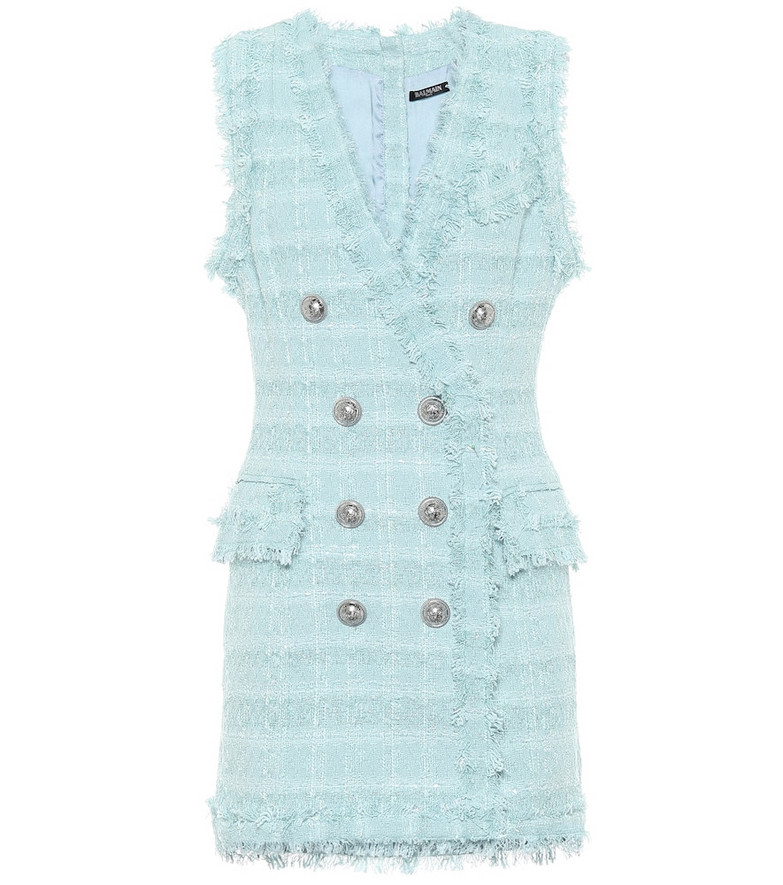 Balmain Metallic tweed minidress in blue