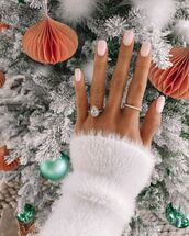 jewels,diamonds,ring,white sweater,nail polish,nails,christmas