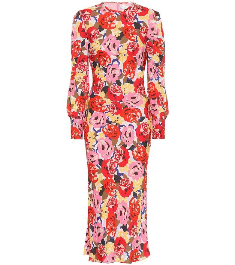 Rebecca Vallance Blume crêpe midi dress in red