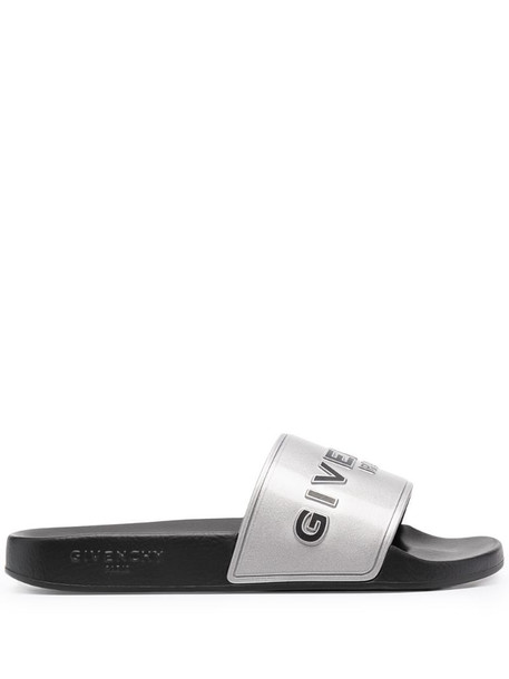 Givenchy metallic-effect logo-detail slides in silver