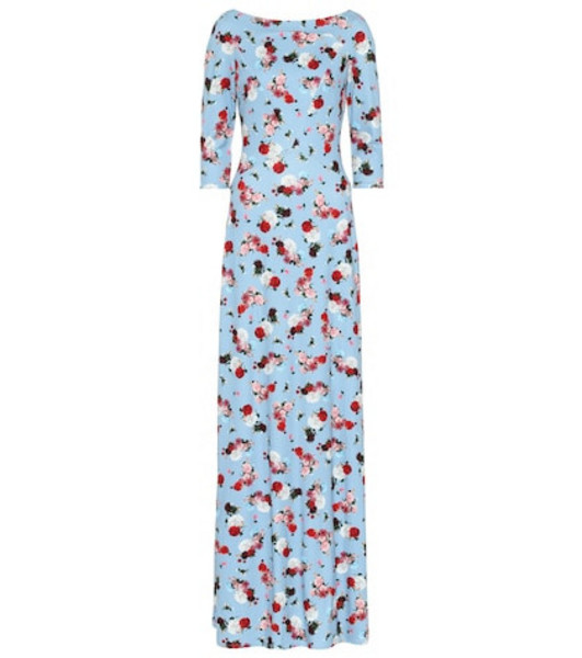 Erdem Exclusive to Mytheresa – Valentina floral ponte gown in blue