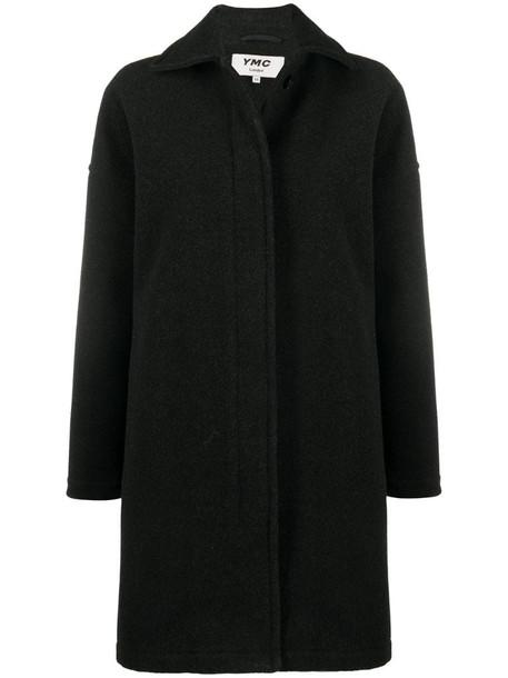 YMC single-breasted oversized coat in black