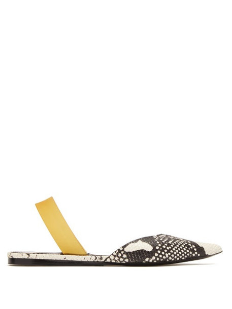 Proenza Schouler - Point Toe Python Effect Leather Slingback Flats - Womens - Python