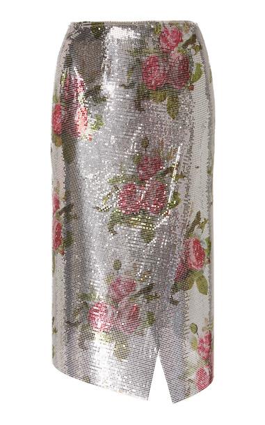 Paco Rabanne Wrap-Effect Floral-Print Chainmail Midi Skirt