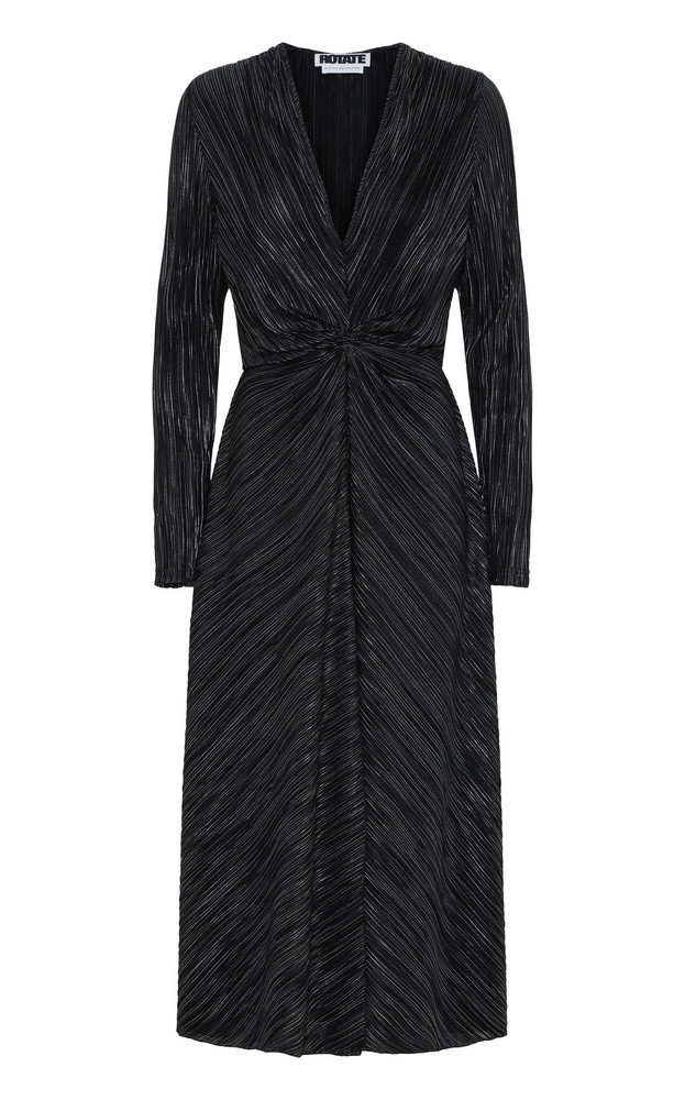 ROTATE Fitted Midi Dress in black