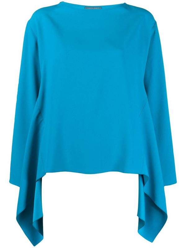 Alberta Ferretti boxy waterfall hem blouse in blue