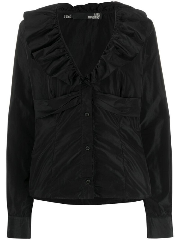 Moschino Pre-Owned 1990s ruffled collar slim-fit shirt in black