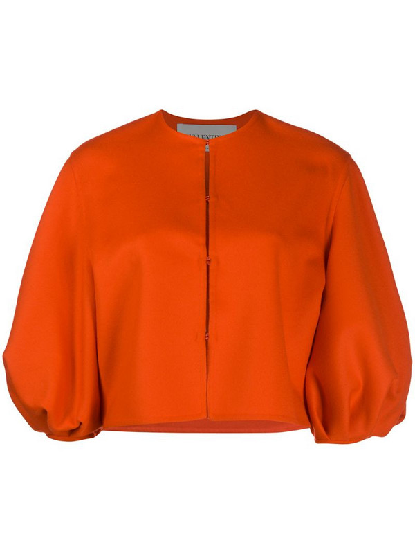 Valentino balloon sleeve cropped jacket in orange
