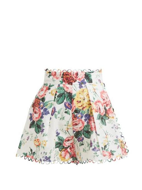 Zimmermann - Allia High Rise Floral Print Linen Shorts - Womens - White