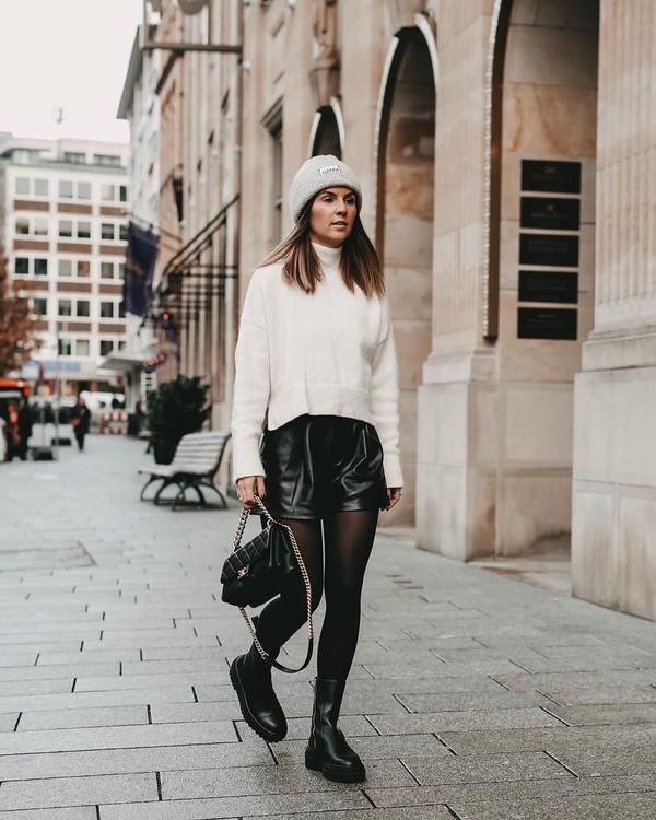shorts black shorts black boots tights leather shorts black bag white sweater turtleneck sweater beanie
