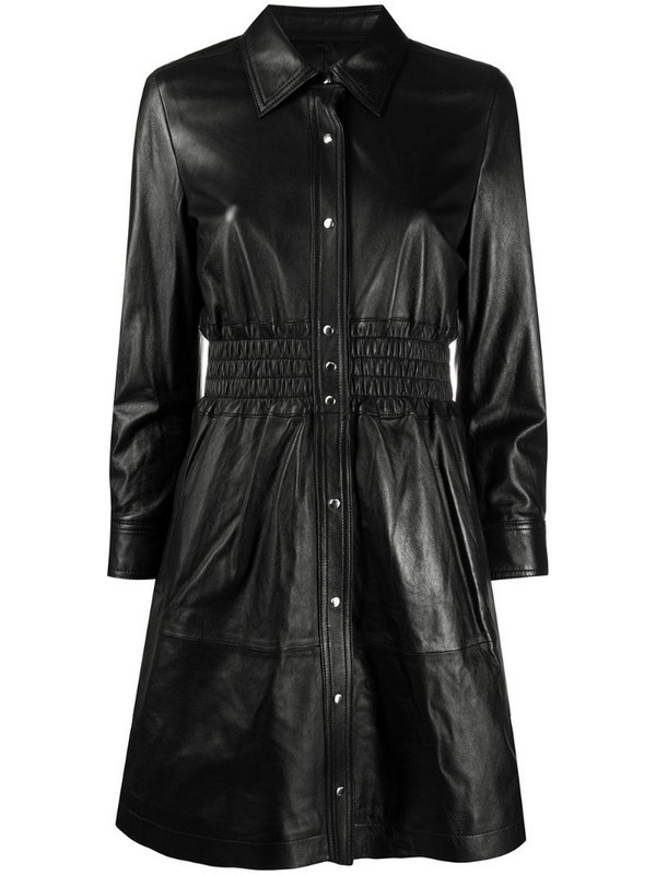 Coach biker shirt dress in black