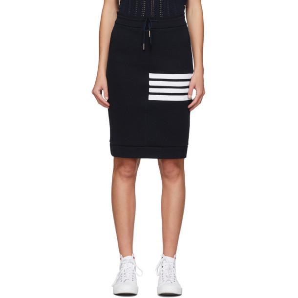 Thom Browne Navy 4-Bar Sack Skirt