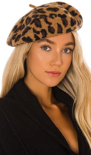 Hat Attack Leopard Beret in Brown
