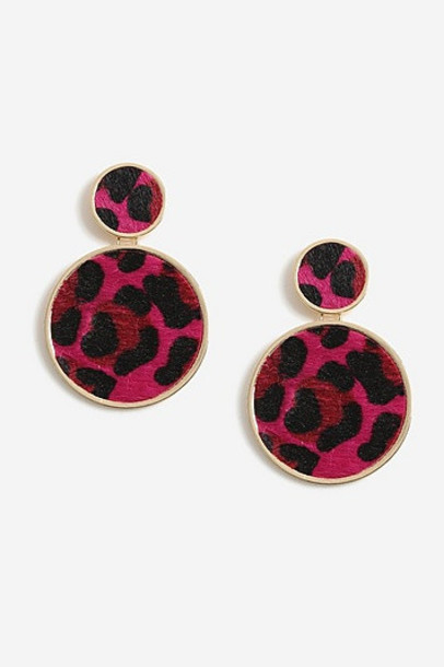 Topshop Leopard Print Circle Drop Earrings - Pink