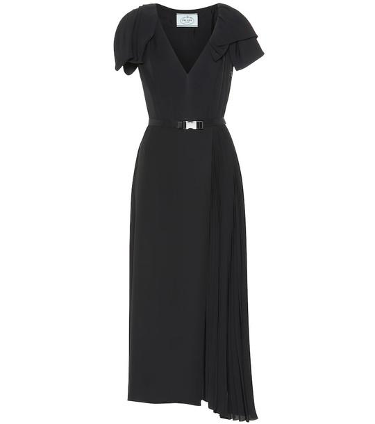 Prada Belted twill midi dress in black