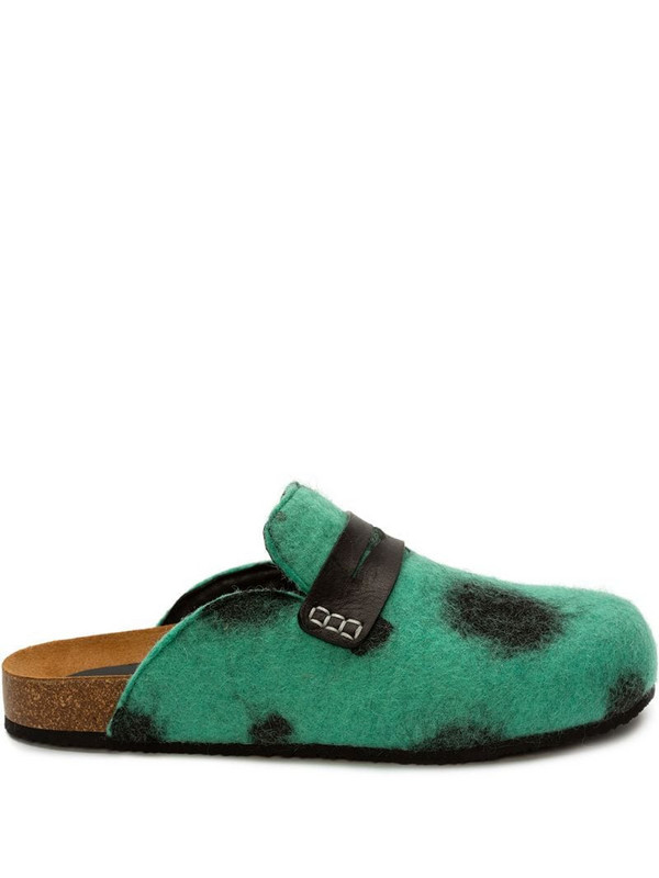 JW Anderson dalmatian-effect loafer-style mules in green