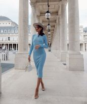 dress,midi dress,long sleeve dress,sandal heels,white bag,hat