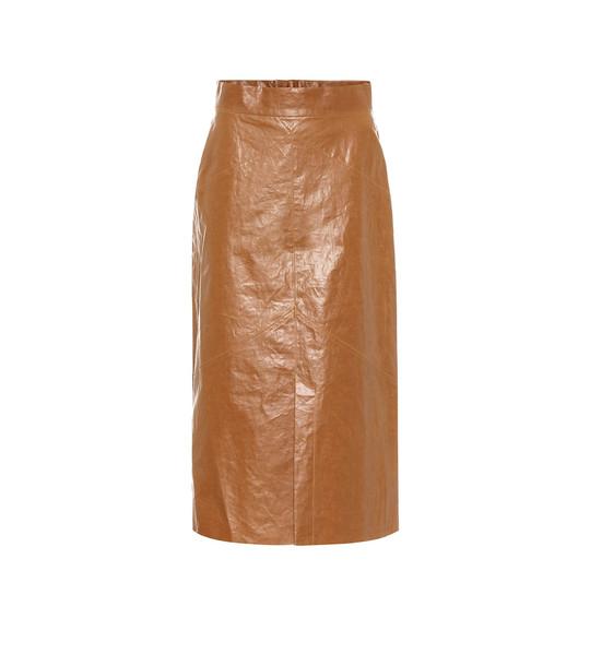 Isabel Marant Domiae linen-blend midi skirt in brown