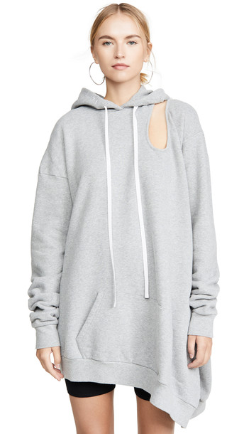 Unravel Project Double Cutout Asymmetrical Hoodie in grey
