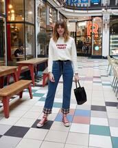 jeans,straight jeans,high waisted jeans,plaid,converse,black bag,handbag,white sweater
