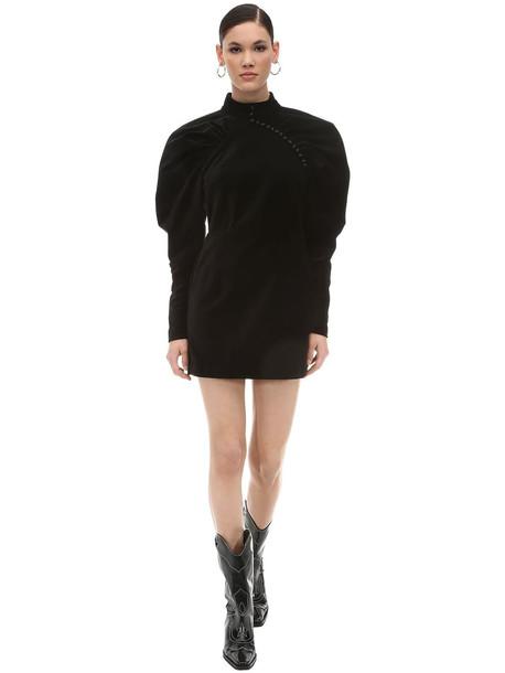 ROTATE Puffed Sleeves Velvet Mini Dress in black