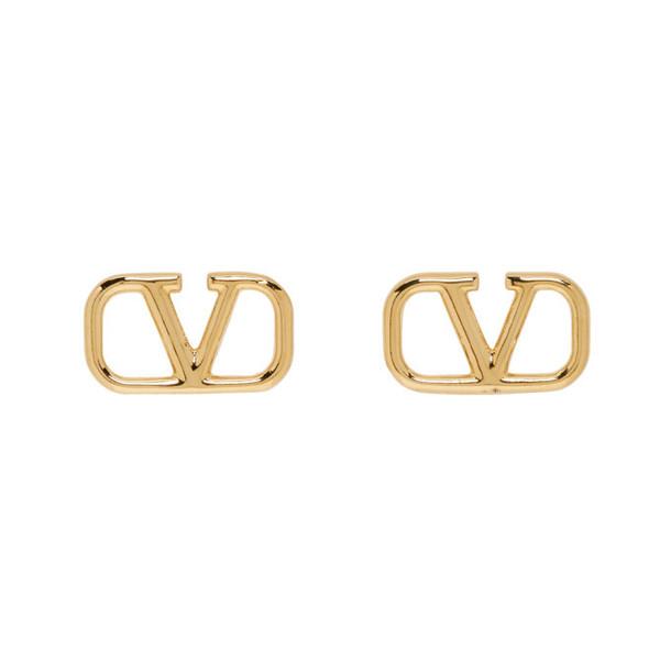 Valentino Gold Valentino Garavani VLogo Loop Earrings