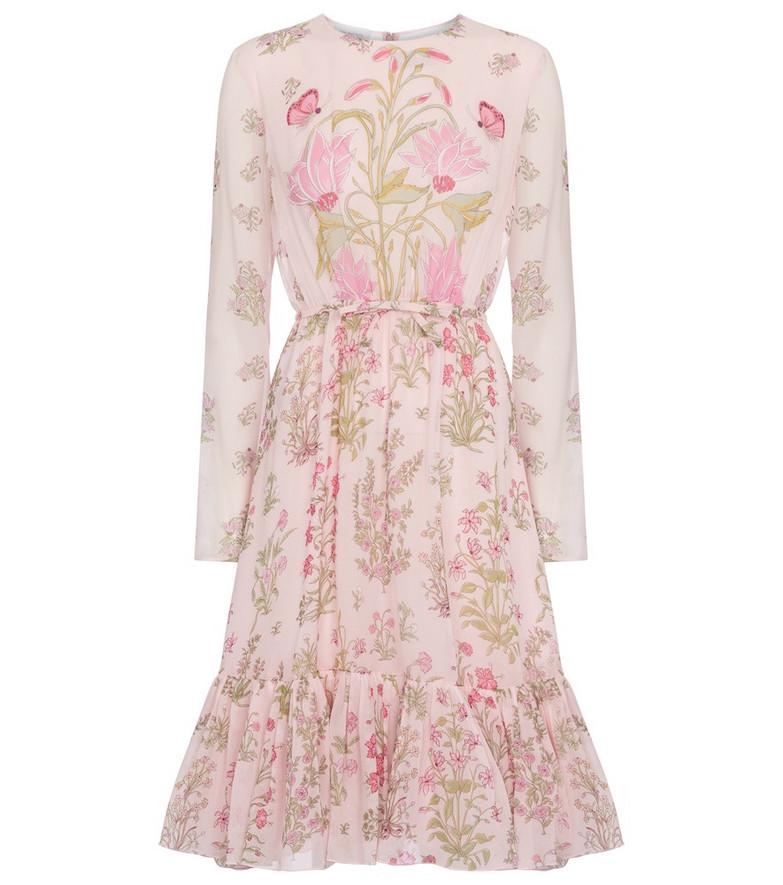 GIAMBATTISTA VALLI Floral silk georgette midi dress in pink