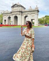 dress,floral dress,maxi dress,belt,bag