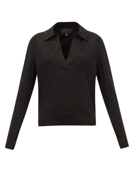 Nili Lotan - Stanton V-neck Metallic Wool-blend Sweater - Womens - Black