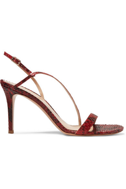 Gianvito Rossi - 85 Python Slingback Sandals - Red