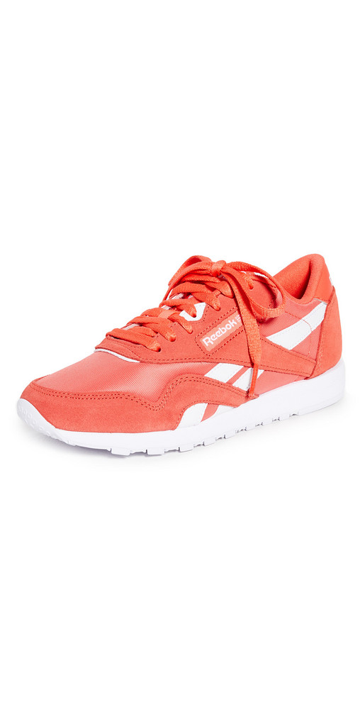 Reebok Classic Nylon Sneakers in orange / white