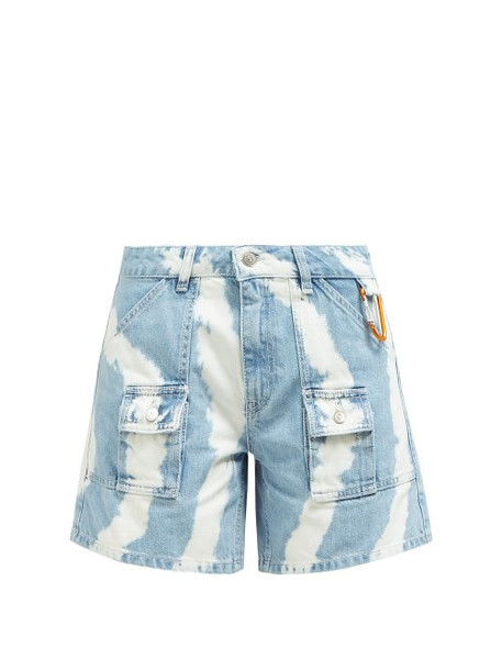 Ganni - Blackstone Bleached Denim Shorts - Womens - Denim