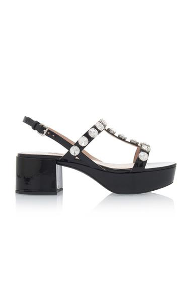 Miu Miu Embellished Patent Leather Platform Sandals Size: 35 in black